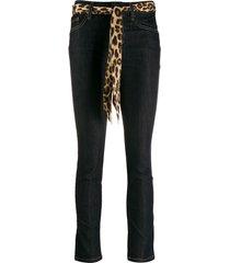 liu jo slim fit jeans with leopard print belt - blue