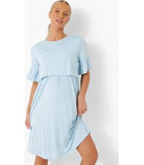 zwangerschap borstvoeding gesmokte jurk met stippen, blue