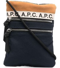 a.p.c. logo-print zip-up messenger bag - blue