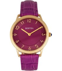 bertha quartz abby collection gold and fuchsia leather watch 33mm