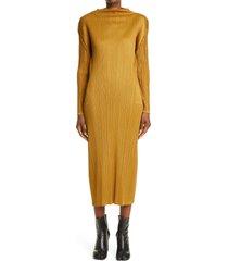 women's pleats please issey miyake pleated long sleeve midi dress, size 5 - yellow