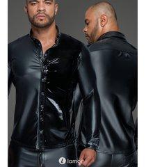 * noir handmade heren shirt wetlook met pvc