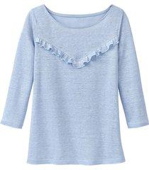 linnen-jersey shirt met ruches, lichtblauw 40/42