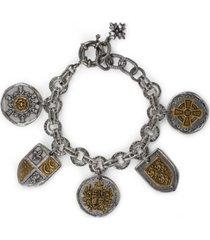 patricia nash two-tone coin & crest link bracelet