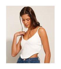 top cropped texturizado corset alça fina decote v off white