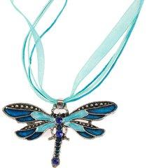 collane lunghe delle donne del tessuto dei rhinestones del pendente variopinto della libellula colourful