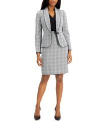 le suit plaid houndstooth skirt suit