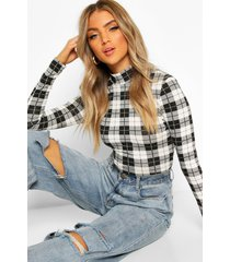 flannel high neck longsleeve top, black