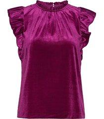 sleeveless velvet ruffle top blus ärmlös lila gap