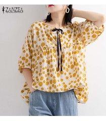 zanzea mujeres lunares largo ocasional tapas de la camisa de las señoras flojas remata la blusa del tamaño extra grande -amarillo