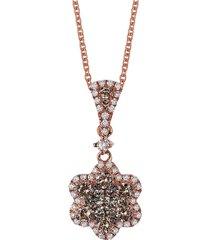 le vian women's 14k strawberry gold®,chocolate & vanilla diamonds® flower pendant necklace