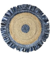 "home weavers denim jute braid 36"" round shape accent rug bedding"