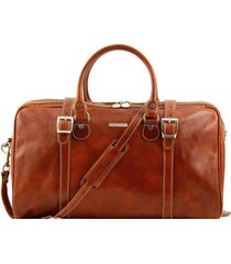 tuscany leather tl1014 berlino - borsa da viaggio in pelle con fibbie - misura piccola miele
