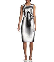 tommy hilfiger women's striped jersey dress - sky captain ivory - size 10