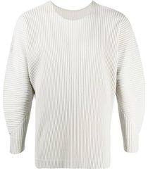 homme plissé issey miyake pleated balloon-sleeve sweatshirt - grey