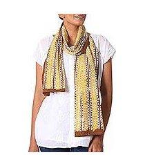 batik cotton shawl, 'alluring vines' (india)