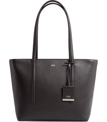 boss taylor small leather shopper - black