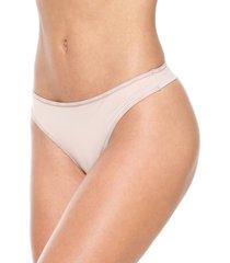 calcinha calvin klein underwear fio dental logo bege