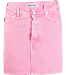 balenciaga v-neck denim skirt - pink