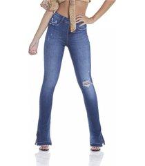 calça jeans denim zero média new boot cut com rasgo azul