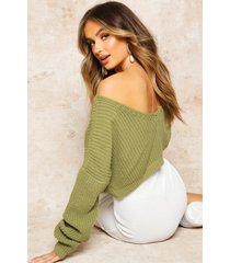 v-back crop sweater, olive