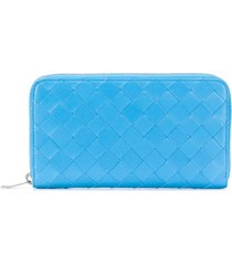bottega veneta woven leather continental wallet - blue