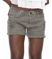 short khelf color cintura alta militar - verde - feminino - dafiti