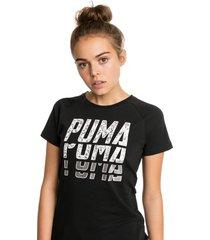 font graphic t-shirt voor dames, zwart/aucun, maat m   puma