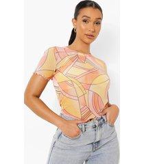 mesh top met abstracte opdruk en korte mouwen, peach