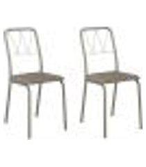 conjunto 2 cadeiras tubo champagne tecido bege carraro