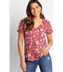 maurices womens 24/7 red floral drop shoulder tee