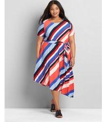 lane bryant women's knit kit striped asymmetrical-hem midi dress 34/36 swanson stripe