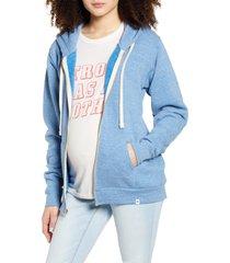 women's bun maternity mama fleece maternity zip hoodie, size x-large - blue