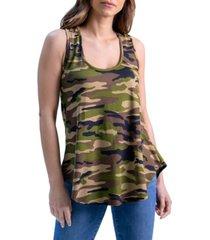 women's camo print round hem racerback tank top