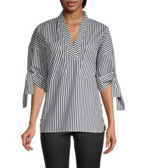 calvin klein women's striped raglan-sleeve blouse - black white - size xs