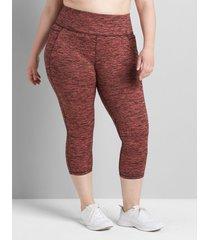lane bryant women's livi high-rise capri legging with pockets - spacedye 38/40 tea rose