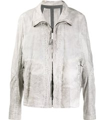 isaac sellam experience distressed zipped jacket - grey