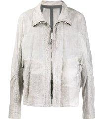 isaac sellam experience distressed zipped jacket - grey