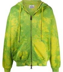 vivienne westwood rugged tie-dye cotton hoodie - green