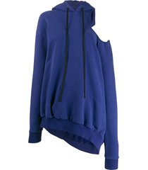 unravel project cold-shoulder hoodie - blue