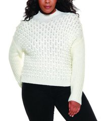 belldini black label women's plus size mock neck pullover sweater