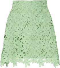bambah lace crochet mini skirt - green
