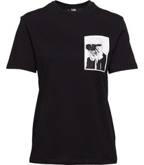 karl legend pocket tee t-shirts & tops short-sleeved svart karl lagerfeld