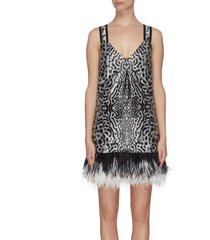 leopard jacquard feather hem cross back dress