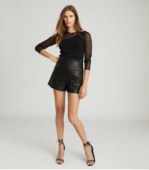 reiss alicia - semi-sheer slim-fit top in black, womens, size xl