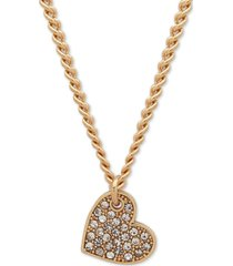 """dkny pave heart pendant necklace, created for macy's, 16"""" + 3"""" extender"""