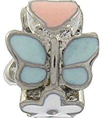 berloque narcizza semijoias coração borboleta flor com resina aço