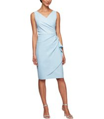 women's alex evenings side ruched cocktail dress, size 14 - blue