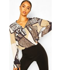 animal print utility woven blouse, brown