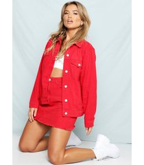 red oversized jean jacket, red
